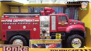 tonka mighty motorized fire truck unboxing toys review demos tonka fire department tough cab