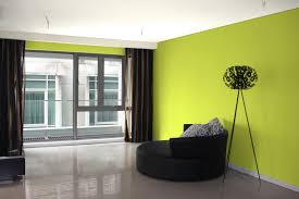 greem color of wall interior decoration has white ceiling and