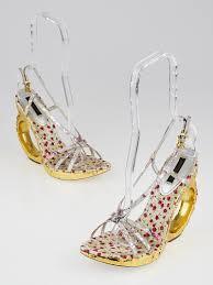 louis vuitton metallic floral strappy sandals gold wedge