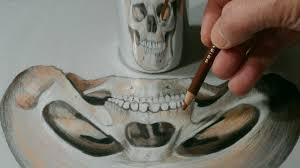 drawn optical illusion anamorphic pencil and in color drawn