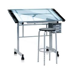 Metal Drafting Table Furniture Best Metal Drafting Desk With Transparent Table Top And