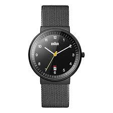 black mesh bracelet images Braun men 39 s quartz watch with black dial analogue display and jpg