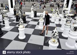 giant chess set marks start of the london design festival stock