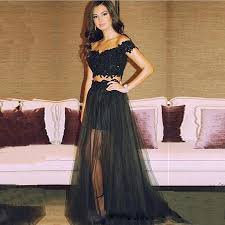 aliexpress com buy black lace two pieces prom dresses off