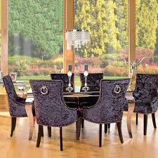 louis black glass and steel 160cm dining table and 6 chairs with