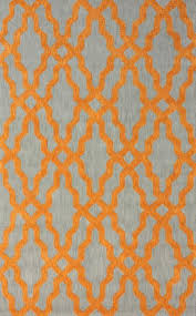 Modern Orange Rug Grey And Orange Wool And Cotton Area Rug