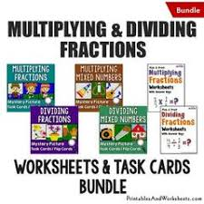 multiplying and dividing fractions task cards and worksheets