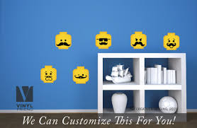 minifig emotion head faces with mustaches wall decor vinyl decal