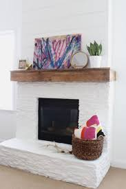 white painted stone u0026 shiplap fireplace makeover rustic mantel