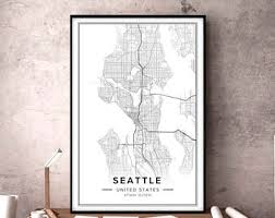 seattle map wall seattle map etsy