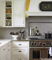 modern manificent black and white tile kitchen backsplash black