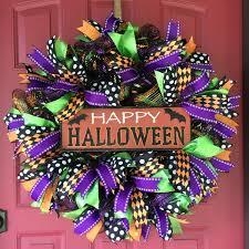 happy halloween deco mesh wreath wreathspiration pinterest