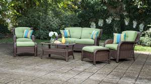 6 Seat Patio Table And Chairs Sawyer 6pc Resin Wicker Patio Furniture Conversation Set Green