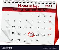 calendar for thanksgiving day royalty free vector