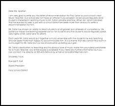 music teacher recommendation letter livecareer