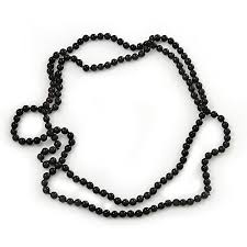 beading necklace lengths images Long black glass bead necklace 140cm length 8mm jpg