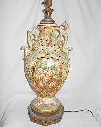 Capodimonte Vases Antique Vintage Capo Bisque Lamp Hand Painted Baroque Scenes Pierced