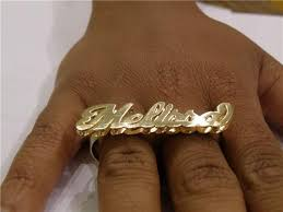 two finger name ring gold plated two finger 3d any name rings personalized gift aw1