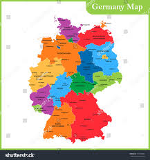map of regions of germany detailed map germany regions states cities stock illustration