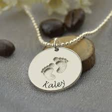 child name necklace silver baby name necklace with footprints sted baby