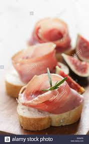 traditional canapes canapes with jamon traditional food stock photo