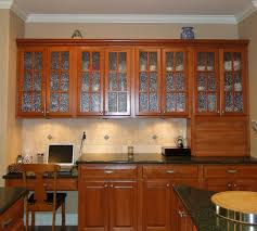 Glass Kitchen Cabinet Door Brown Textured Wood Cabinet Combine Black Countertop Kitchen