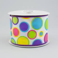 polka dot ribbon 2 5 multi colored polka dot ribbon white 10 yards rg1111