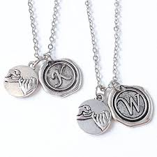 couples necklace 2 promise necklaces with wax seal initial