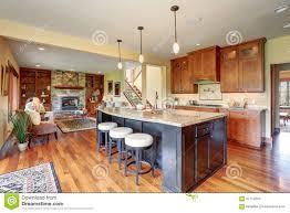 Kitchen With Bar Design Luxury Kitchen With Bar Style Island Stock Photo Image 57714653