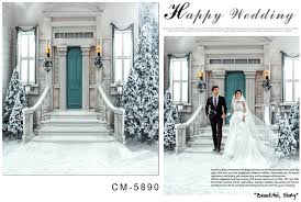 backdrop wedding korea 10x10ft winter court villa porch steps garland door snow yard