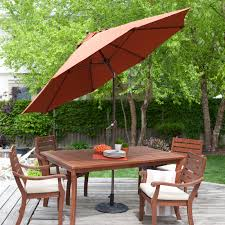 Backyard Creations Umbrella by Coral Coast 9 Ft Spun Poly Push Button Tilt Wind Resistant Patio