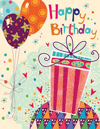 beautiful happy birthday greeting card with gift a stock vector
