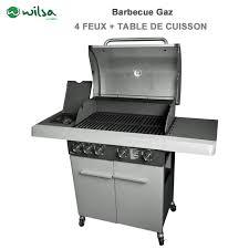 cuisiner avec barbecue a gaz barbecue gaz 4 feux mixte avec table de cuisson 604000 wilsa garden