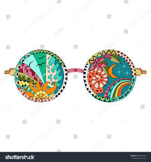 hand drawn hippie sun glasses anti stock vector 350912924
