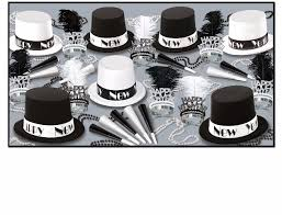 new years party packs black white new year s theme party kits that include hats