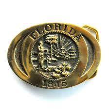 Florida State Flag Image Florida State Seal Vintage Heritage Mint Je 4383 Solid Brass Belt