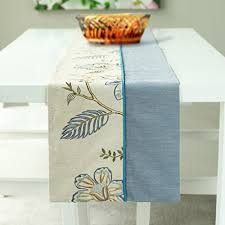 farmhouse style table cloth natural linen stitching embroidered farmhouse style double layer