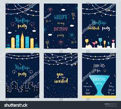 vector set rooftop cocktail birthday party stock vector 337439141