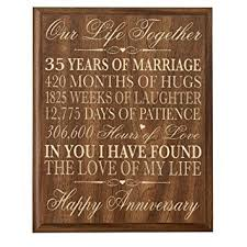 35th anniversary gifts 35th wedding anniversary wall plaque gifts for