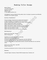 Banking Resume Objective Entry Level Resume For Teller Resume Cv Cover Letter