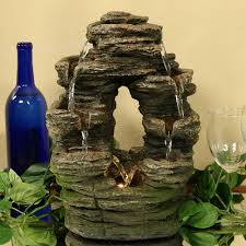 Jersey Home Decor Fountains Split Rock Moss Detail Tiered Indoor Waterfall Fountain Water