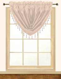 elaine faux silk waterfall valance with rod pocket u0026 fringes
