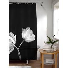 Black Bathroom Curtains York Fabric Shower Curtain Black In Shower Curtains And Top 20