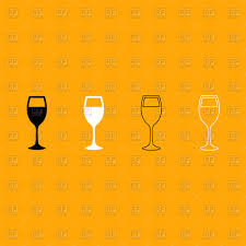 wine silhouette glass of wine silhouette and outline vector clipart image 186102