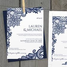 Marriage Invitation Sample Diy Wedding Invitation Template Editable Text Ornate Lace Navy Bl