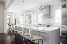 Robert Bling Chandelier Waterfall Kitchen Island With Robert Bling Chandeliers