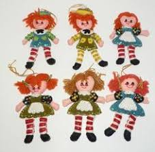 vintage lot raggedy andy flocked ornaments yarn