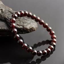 beading elastic bracelet images Dark red natural stone garnet beads elastic bracelet women jewelry jpg