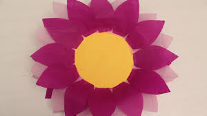 how to make paper plate and tissue paper flower youtube
