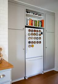 gap between fridge and cabinets ideas for using that awkward space above the fridge apartment therapy